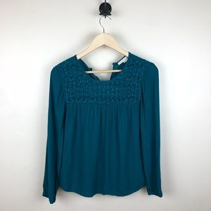 Meadow Rue Laurel Teal Smock Top Blouse Size Small